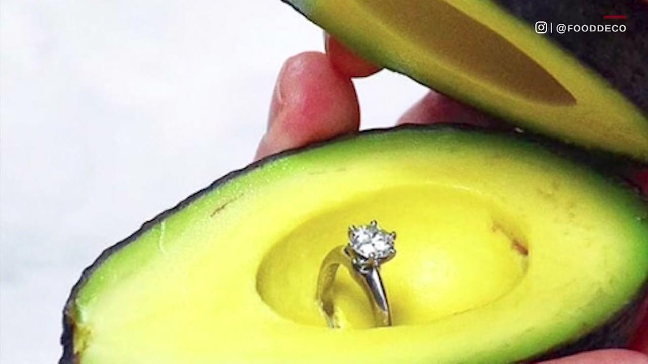 Engagement rings inside of avocados are actually a thing