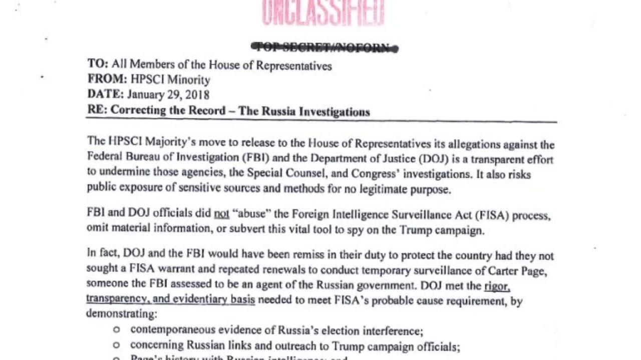 Congress releases redacted, declassified Democratic memo