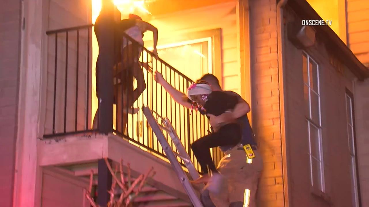 Family rescued fire