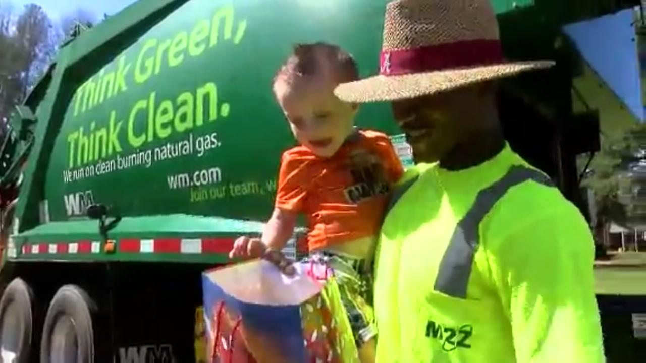 Boy creates bond with garbage men