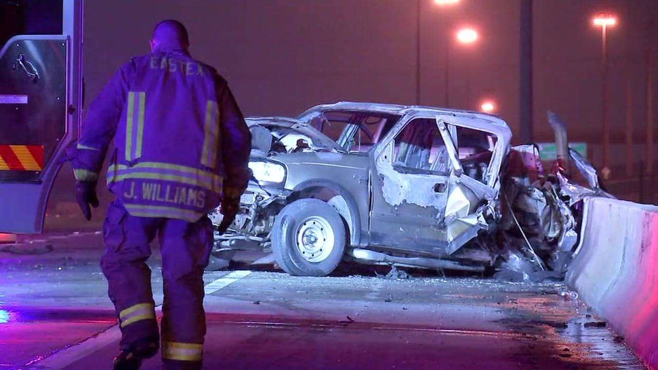 Man possibly burned alive after fiery crash on Eastex Fwy