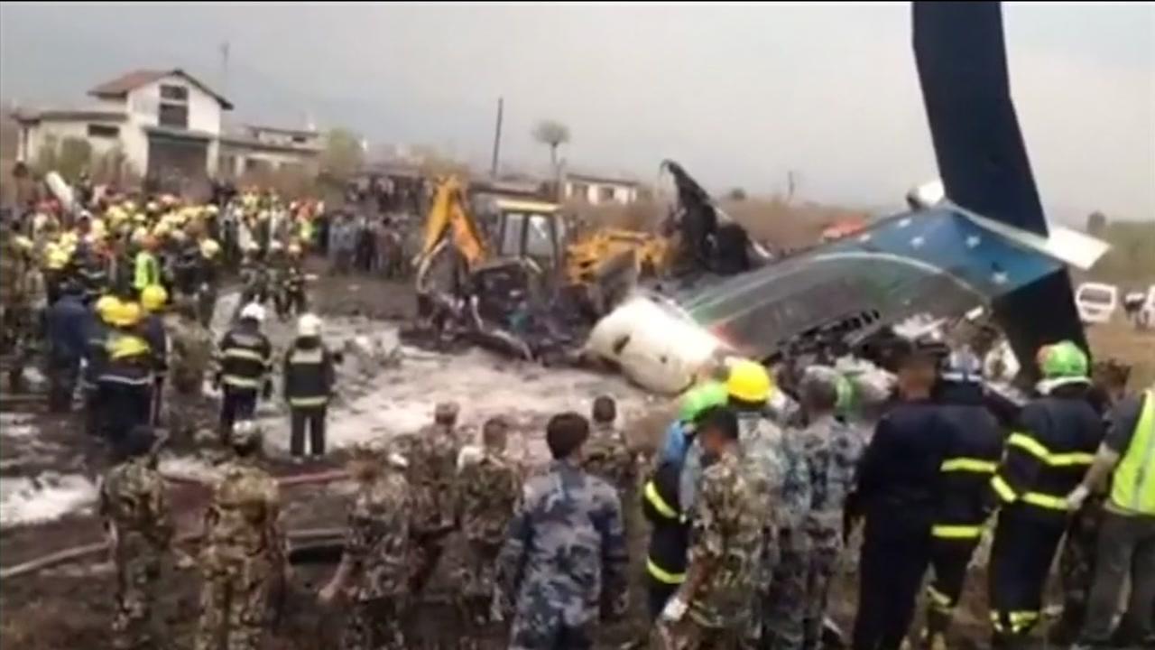 Passenger plane crashes, catches fire at Kathmandu airport