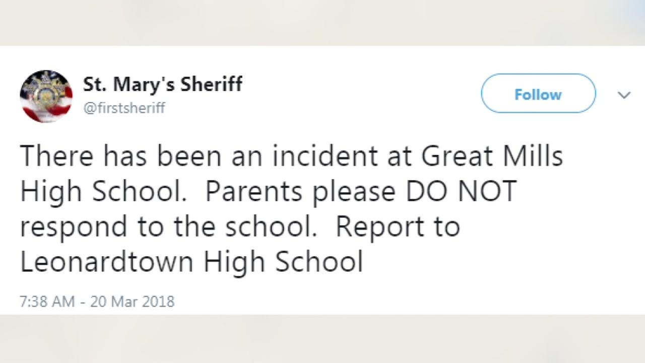 Maryland high school with reported injuries