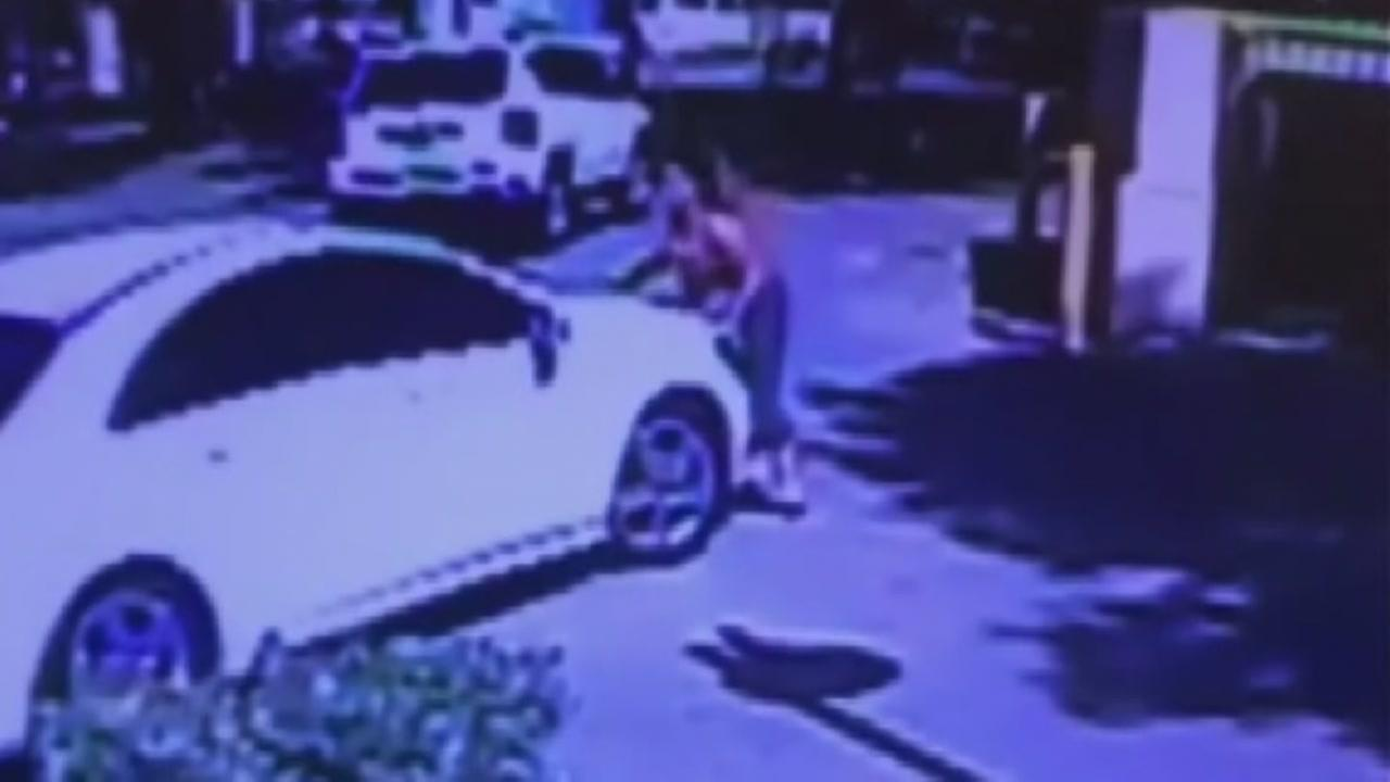 Pregnant woman ends up on car hood after chasing thieves