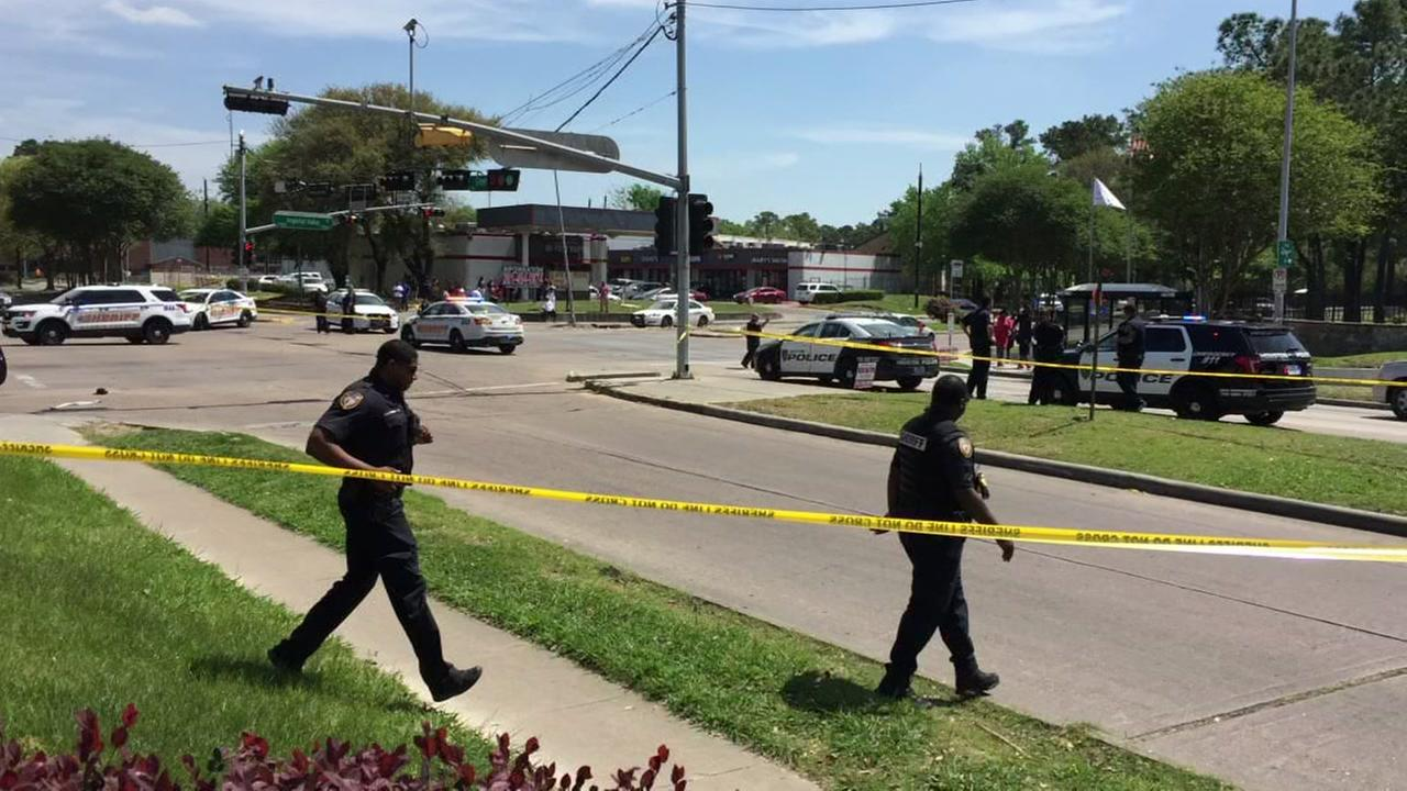 Investigators responding to an officer-involved shooting in north Harris County
