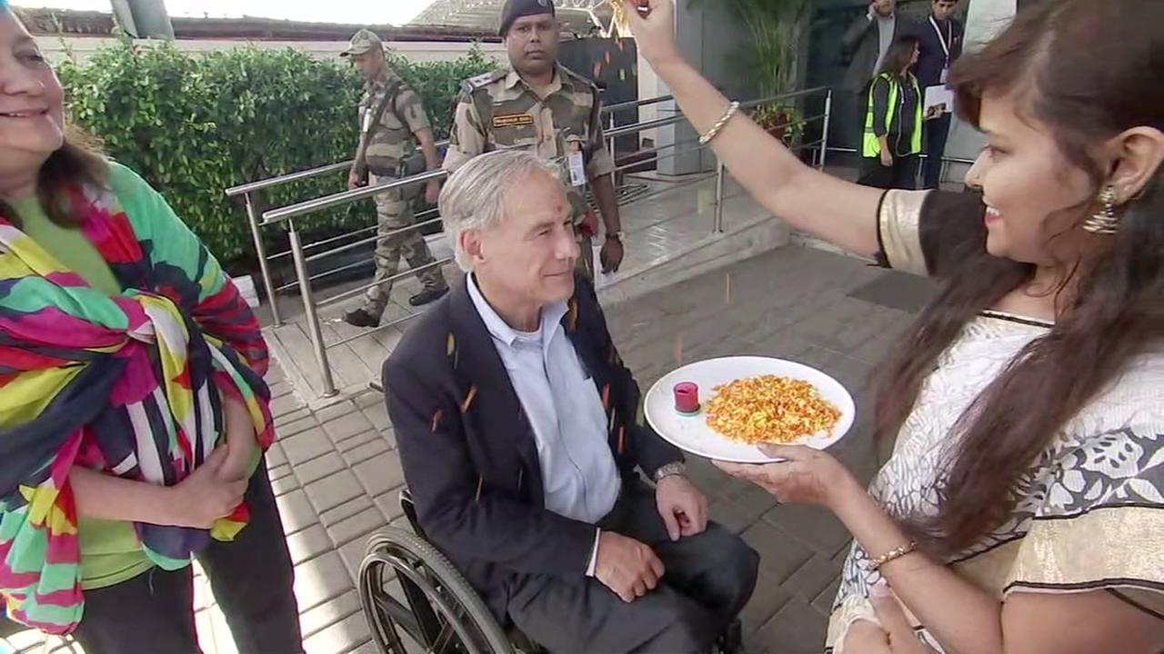 Pooja Lodhia is with Gov. Greg Abbott in India