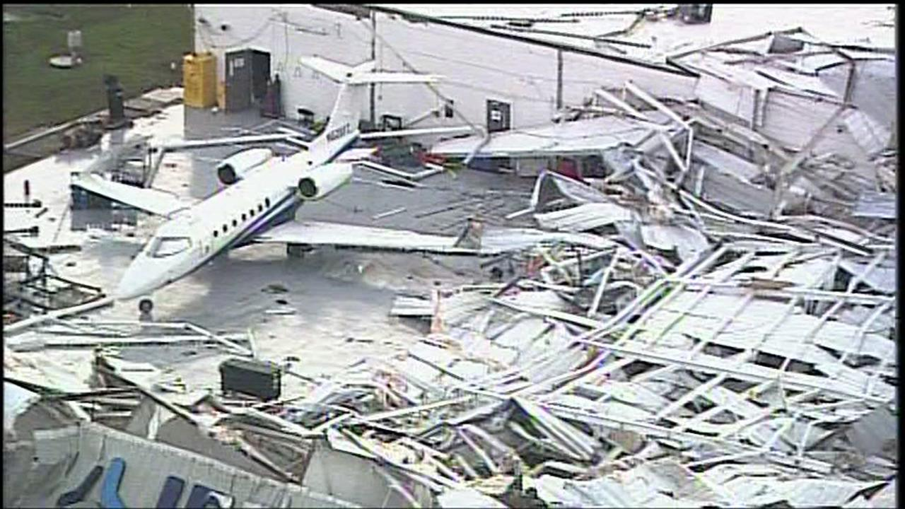 Damage seen during the daylight of hangar near Hobby Airport