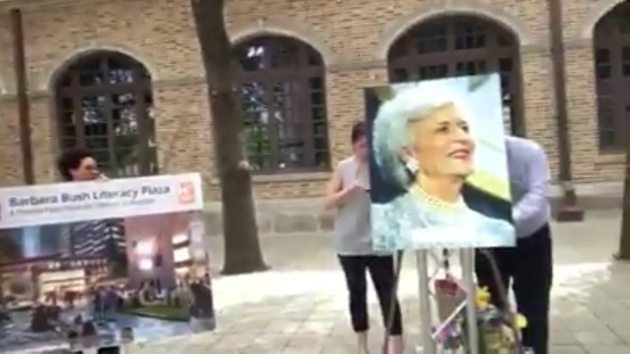 Portrait of Barbay Bush put up at Barbara Bush Plaza