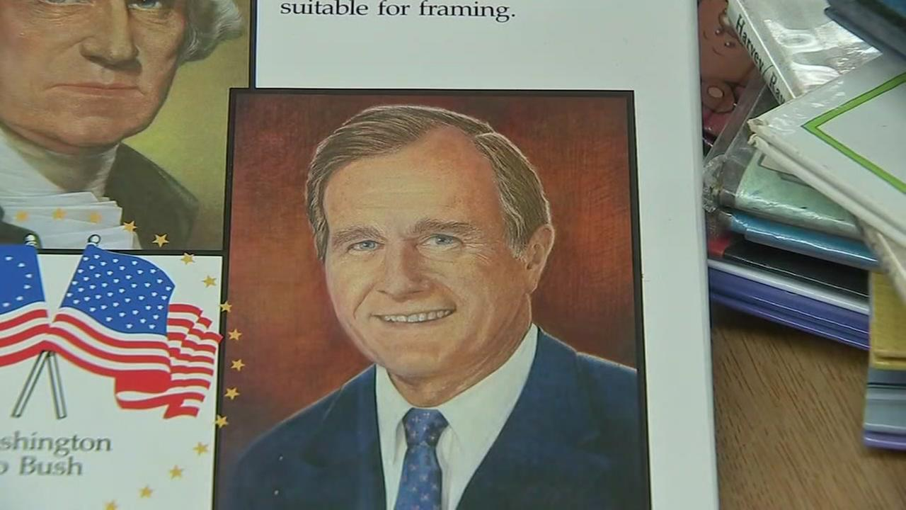 Outdated books at Petersen Elementary show Bush 41 still president