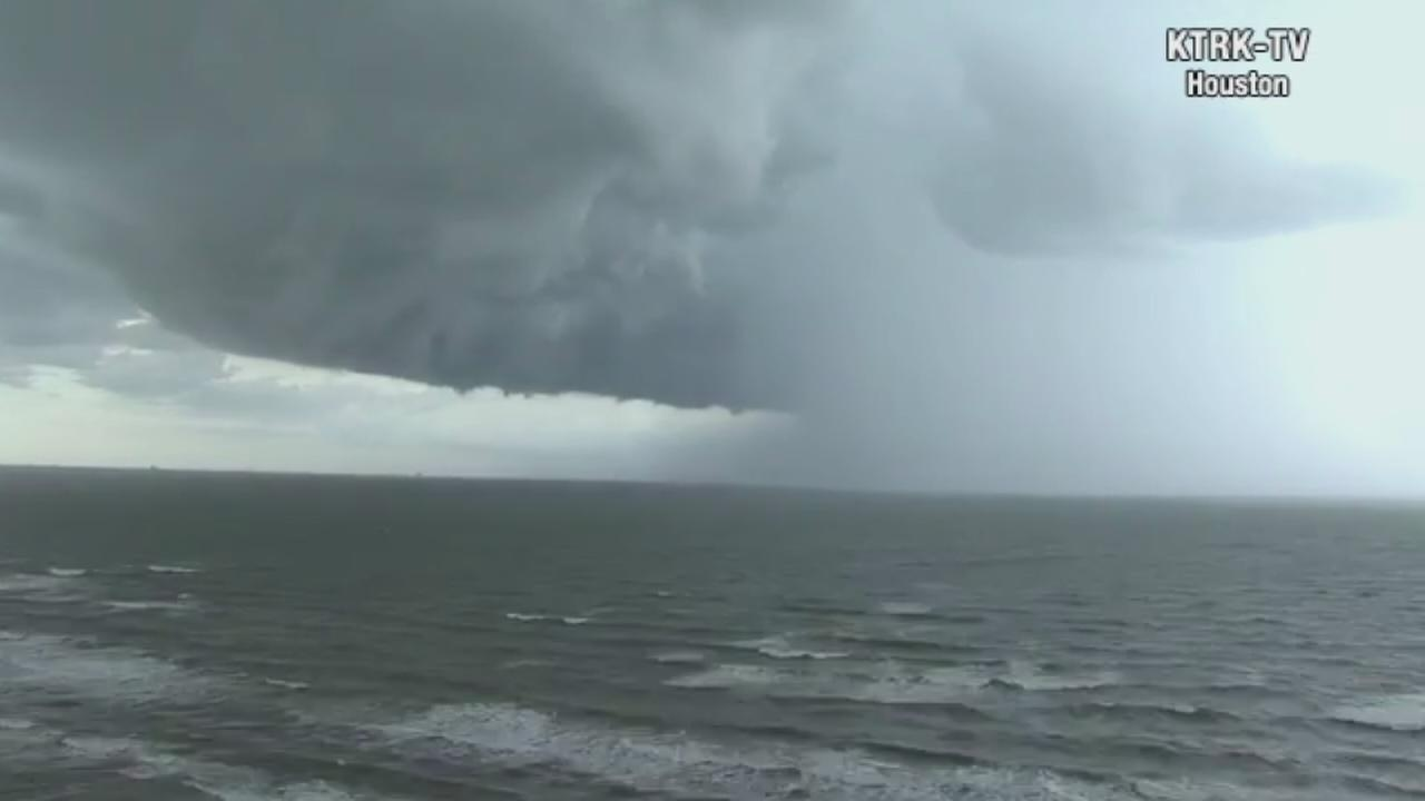 Time-lapse from Galveston of todays storms
