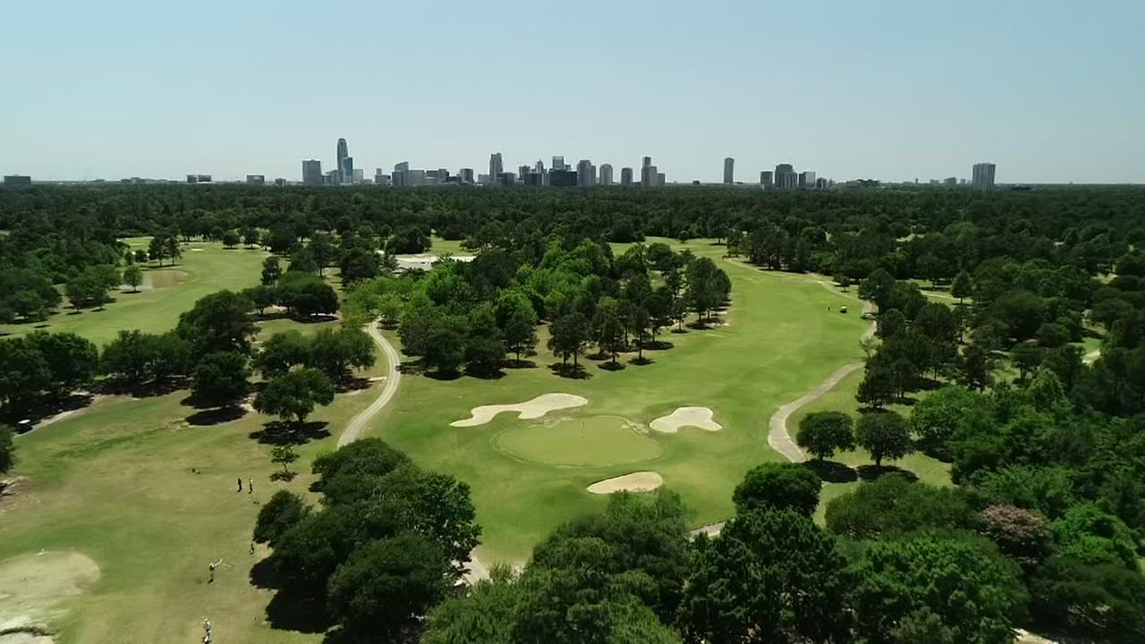 SkyDrone13 flies over Memorial Park Golf Course