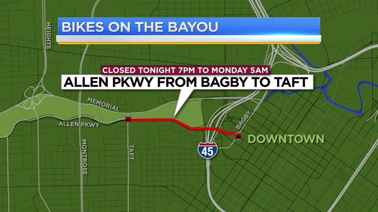 Allen Parkway closed this weekend for Bikes on the Bayou