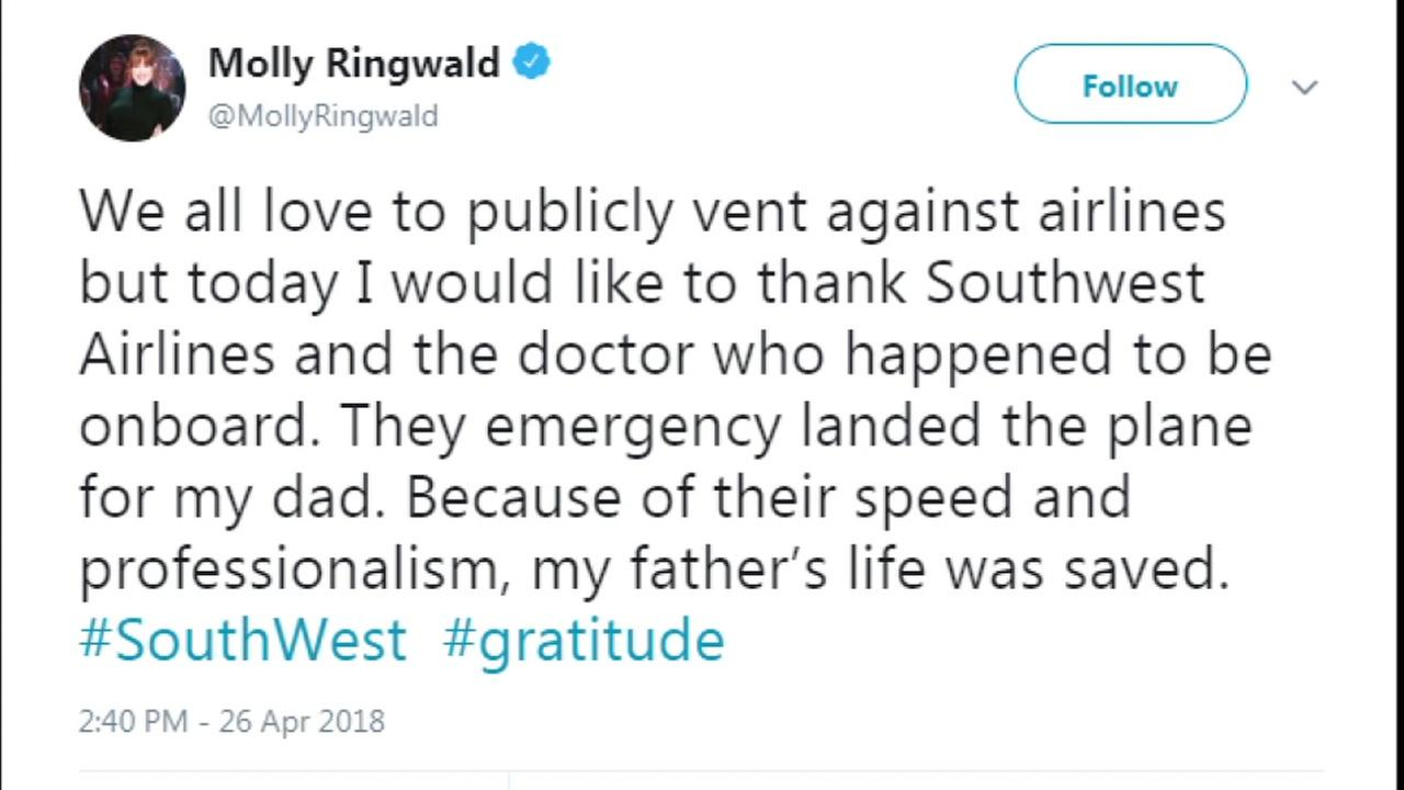 Actress Molly Ringwald thanks Southwest Airlines with tweet for making emergency landing for her father