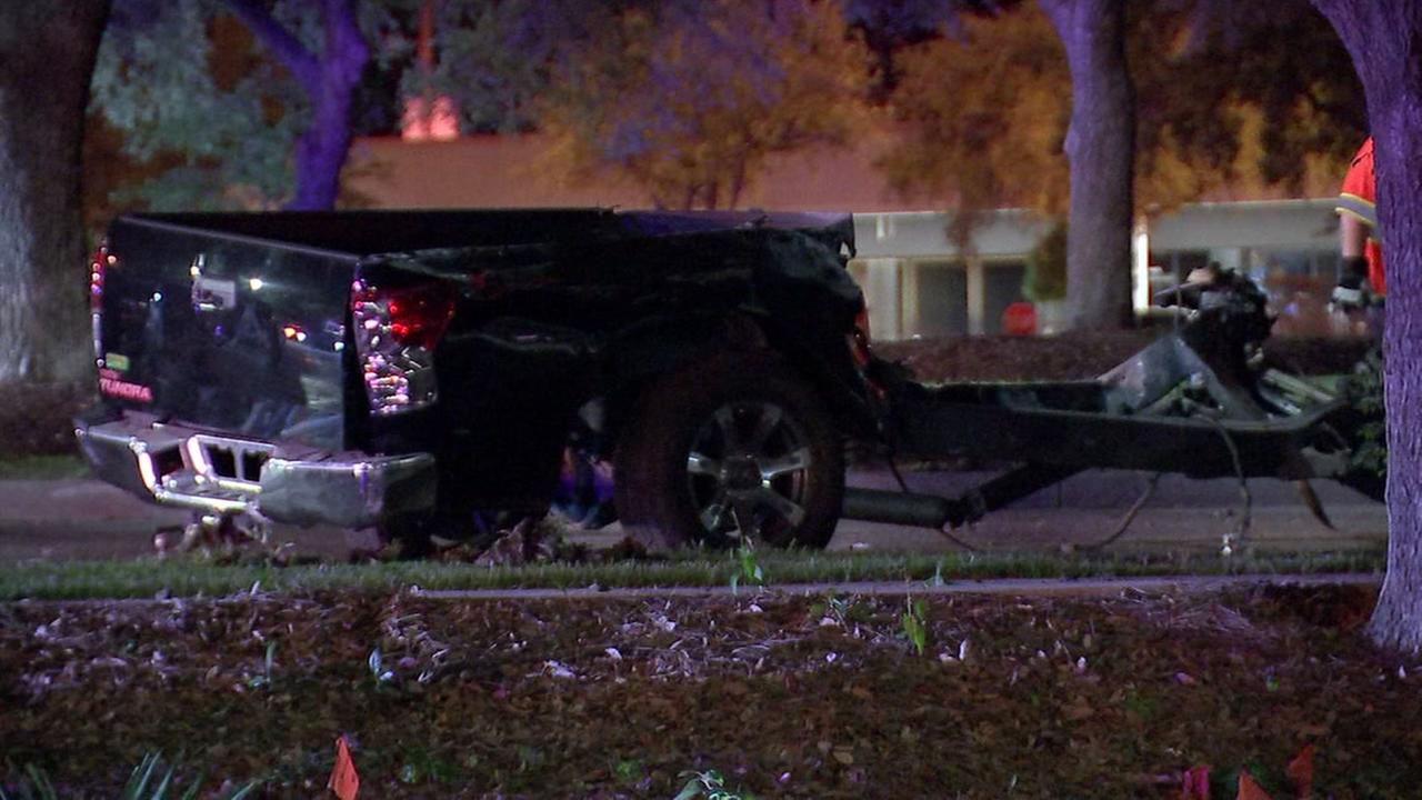 Truck split in half after driver loses control on West Lake Houston Parkway