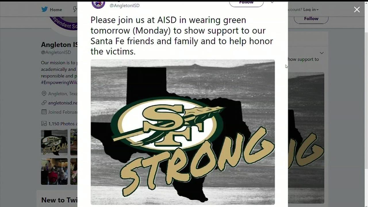 Angleton ISD encouraging other districts to wear green and gold for Santa Fe victims