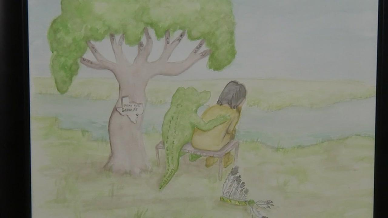 Dickinson ISD art teacher creates drawing to give the Santa Fe community comfort