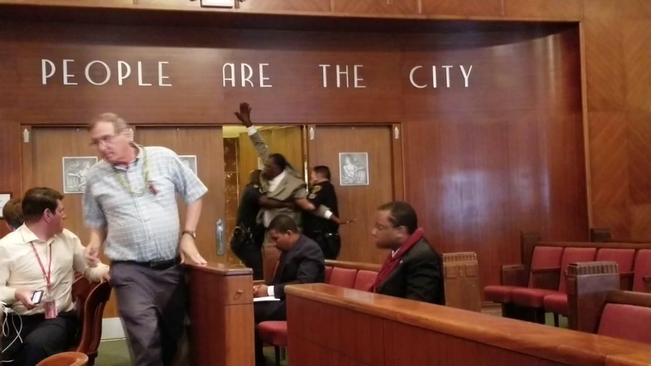 A man had to be removed from Houston City Council today after an outburst