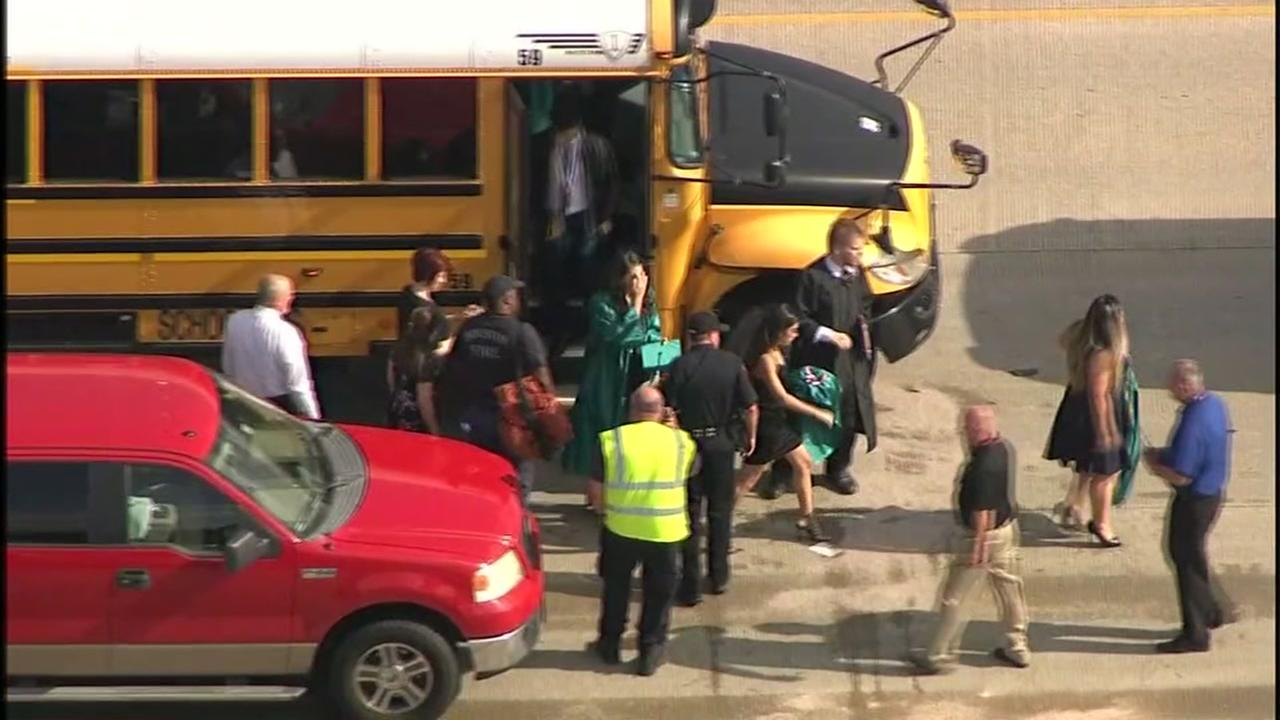 11 students injured after bus crash en route to Pasadena Memorial High School graduation