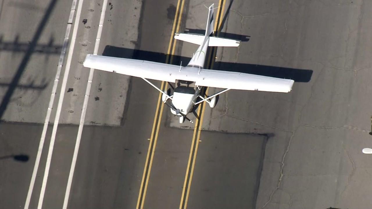 Pilot makes emergency landing on street