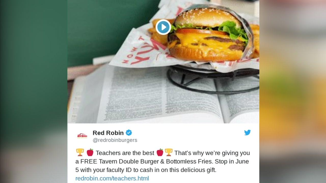 Teachers eat free at Red Robin on June 5