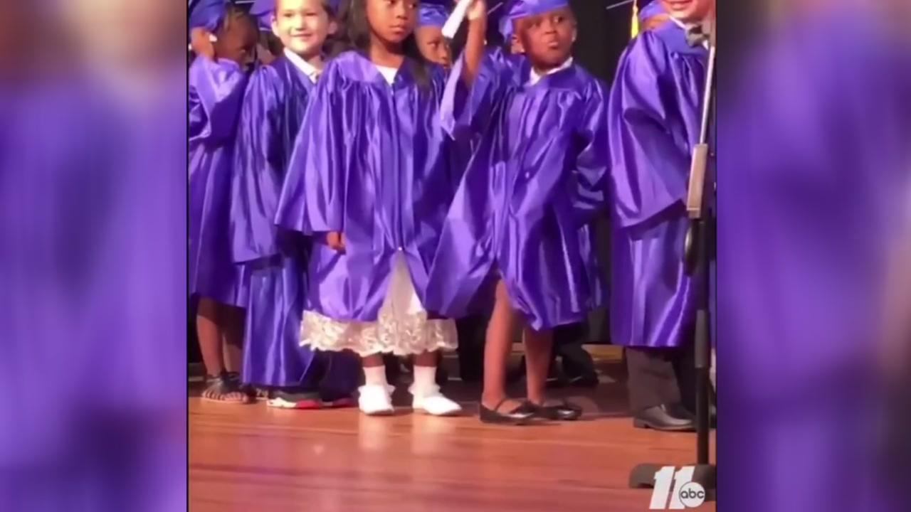 Dancing 5-year-old steals show at Pre-K graduation