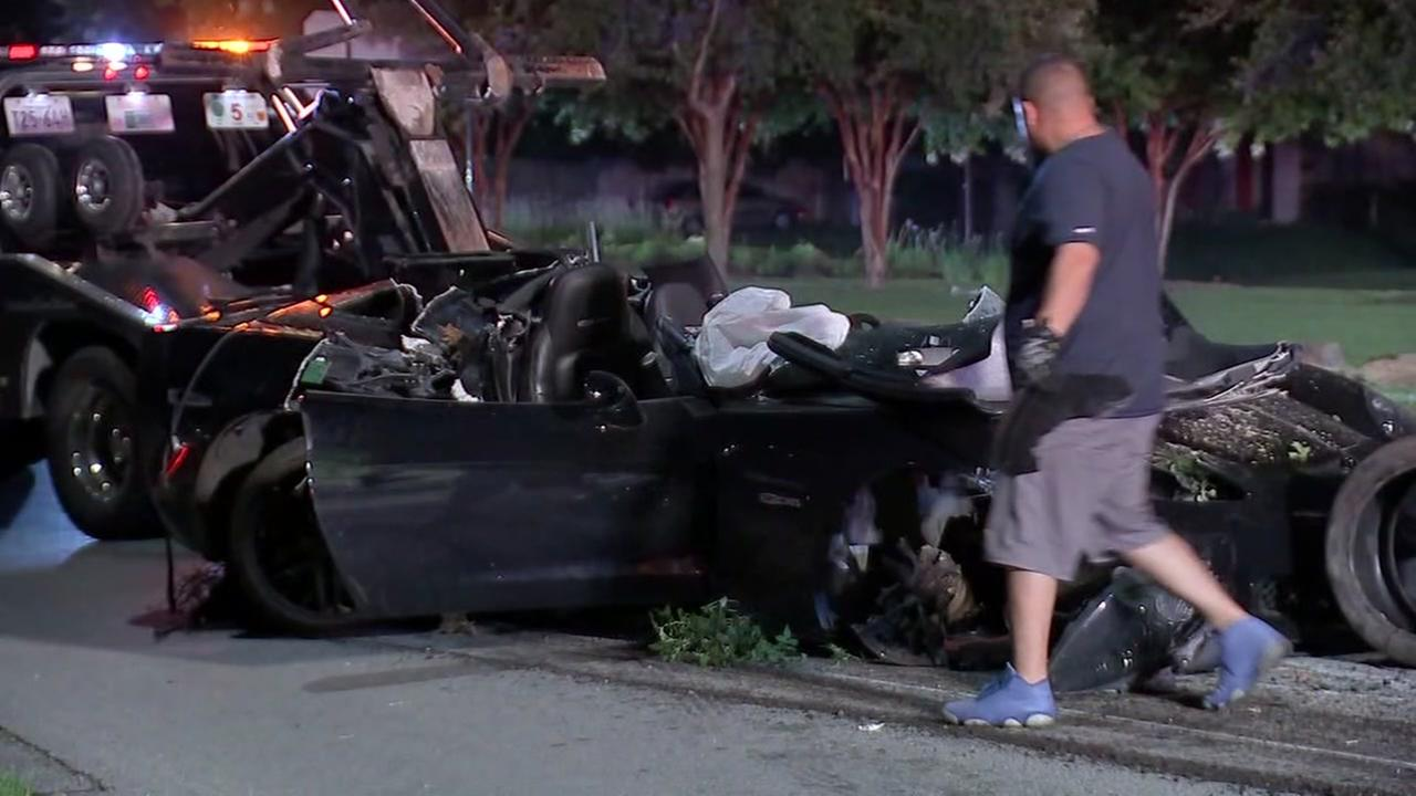 Two people pulled from Corvette crash