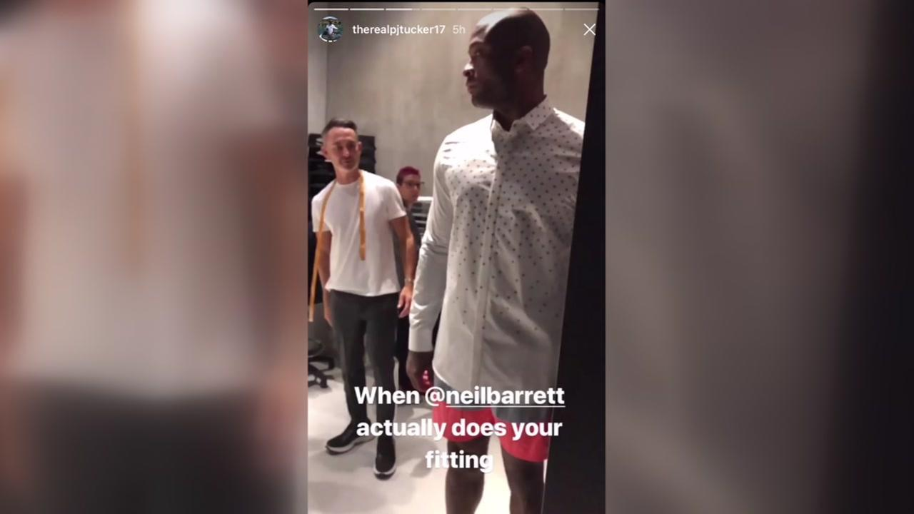 PJ Tucker at fashion show in Milan