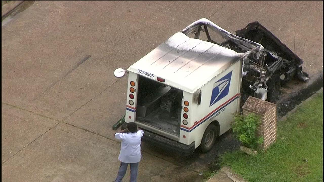 Postal truck catches fire after lightning bolt reportedly strikes vehicle