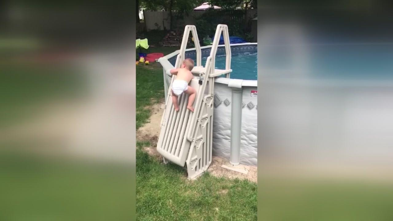 Viral video of 2-year-old climbing pool ladder serves as warning for parents