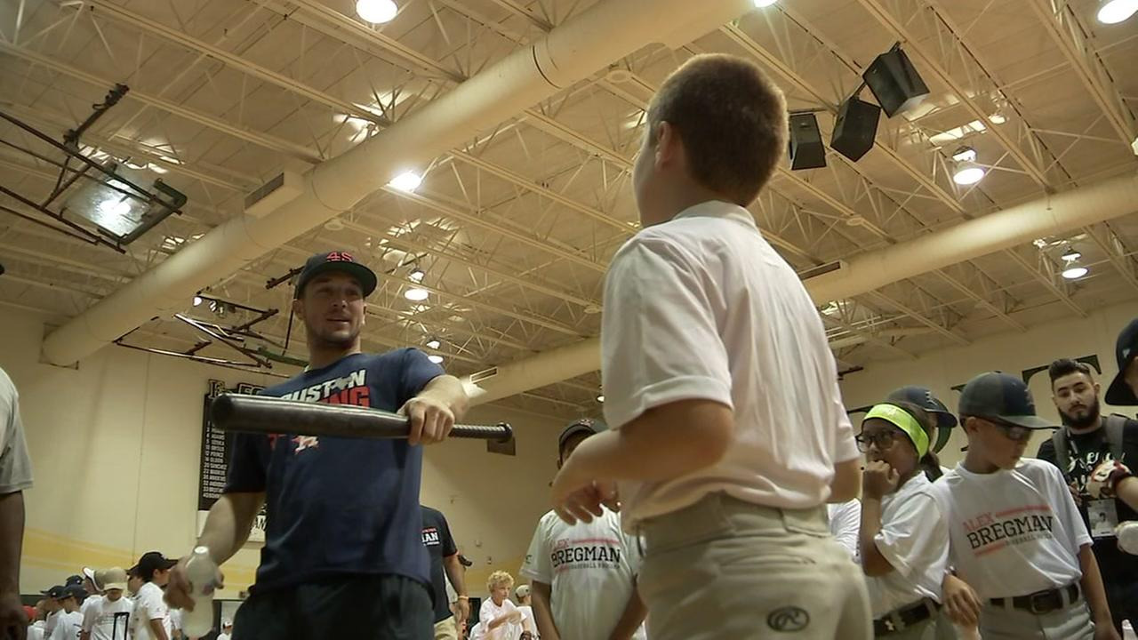 Alex Bregman gives baseball tips at Fort Bend Christian Academy