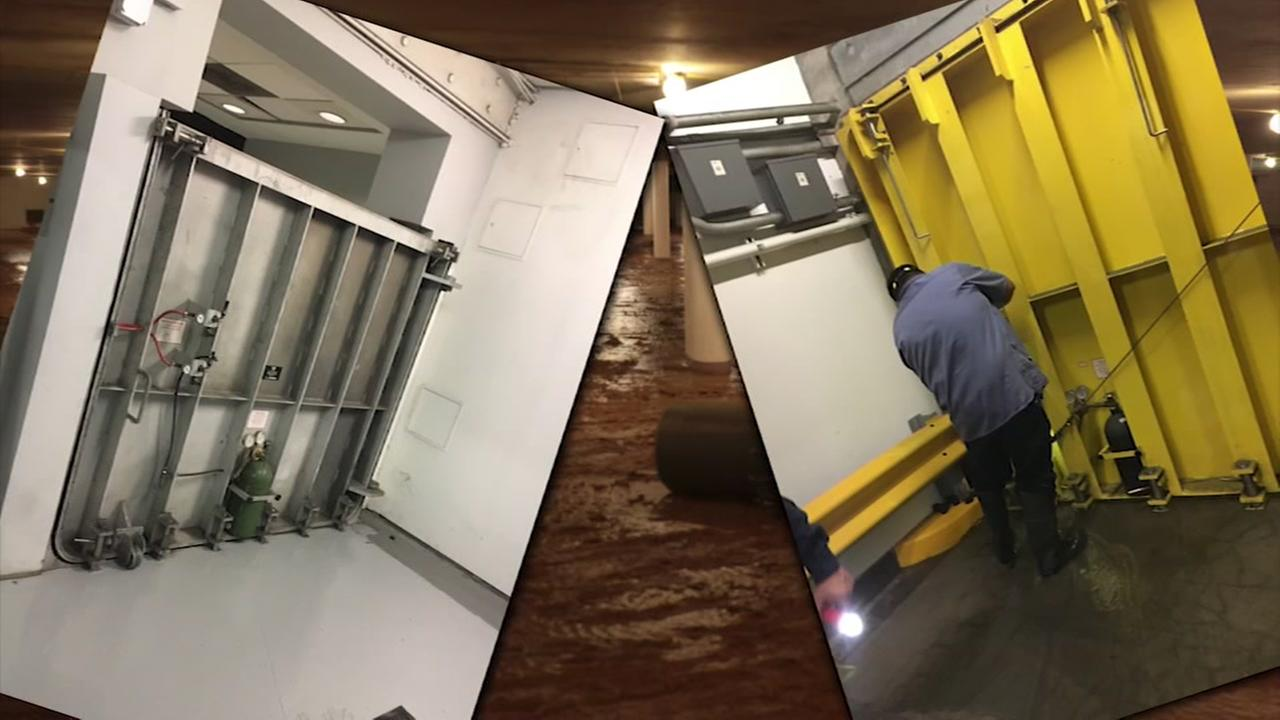 What led to flooding under city facilities during Hurricane Harvey