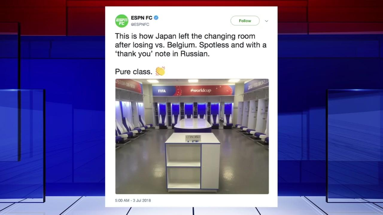 After the defeat, the Japanese cleaned up the dressing room and left a note on the table in Russian