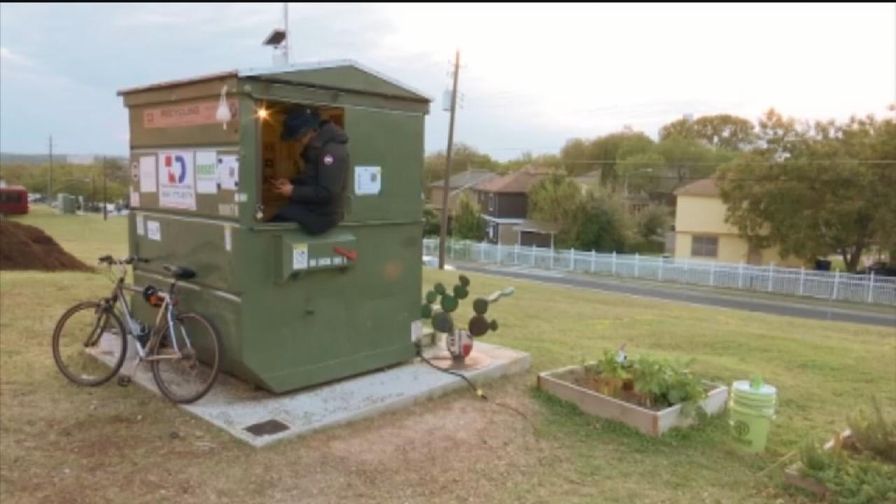 Texas professor converts dumpster into home