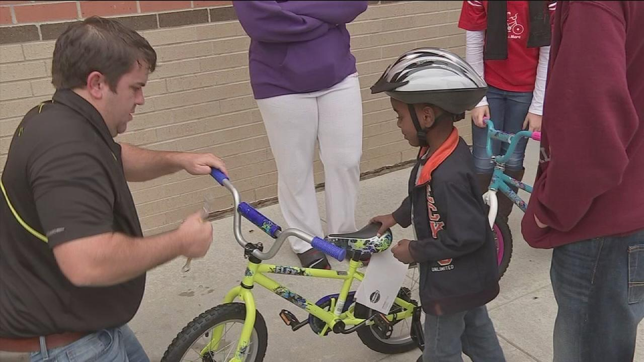 Kids earn bikes through program