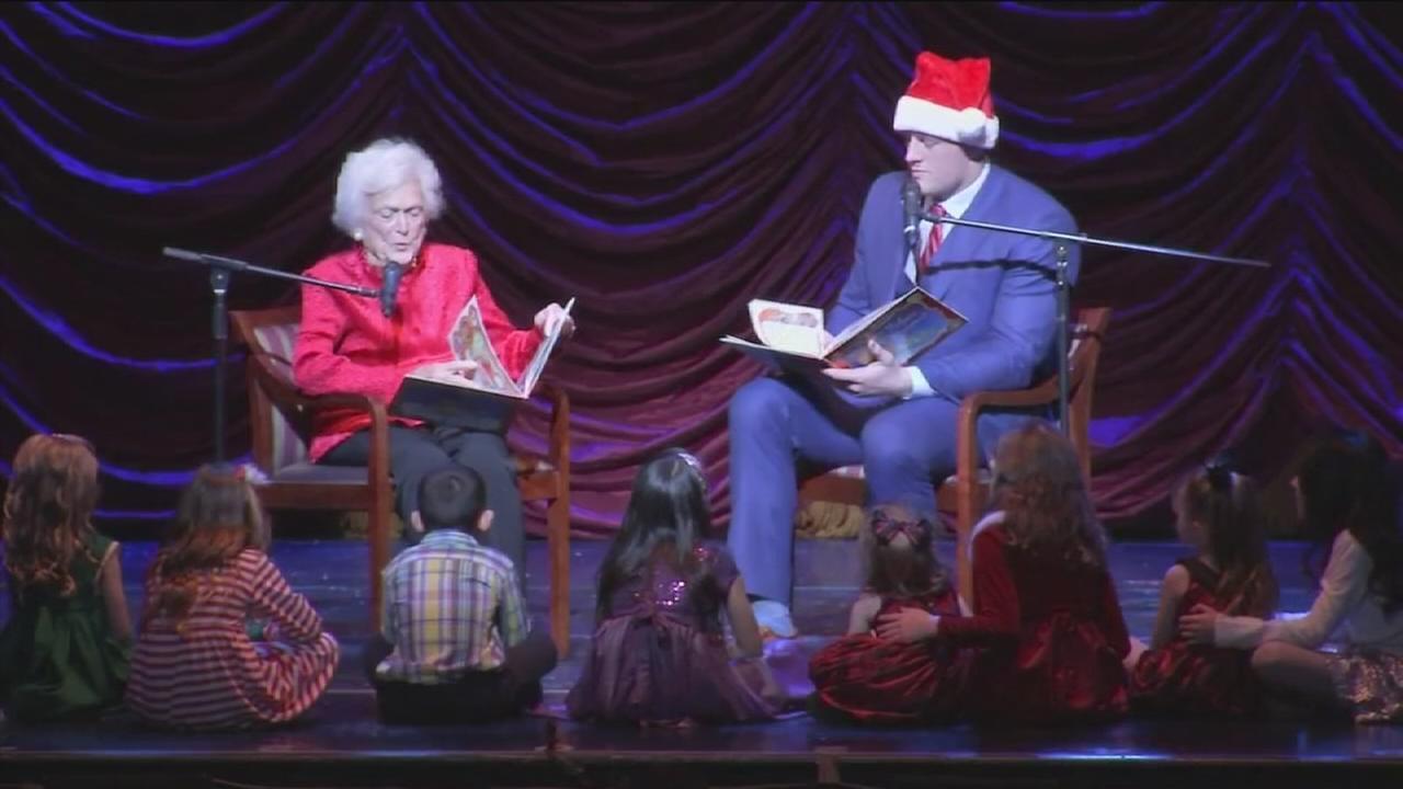 Barbara Bush, JJ Watt surprise crowd at Hobby Center