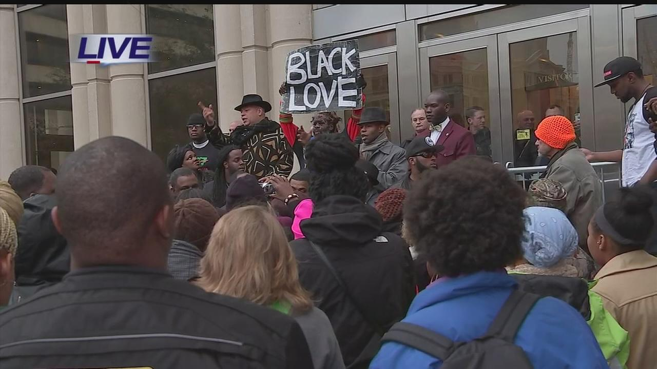 Demonstrators rally at Harris Co. courthouse