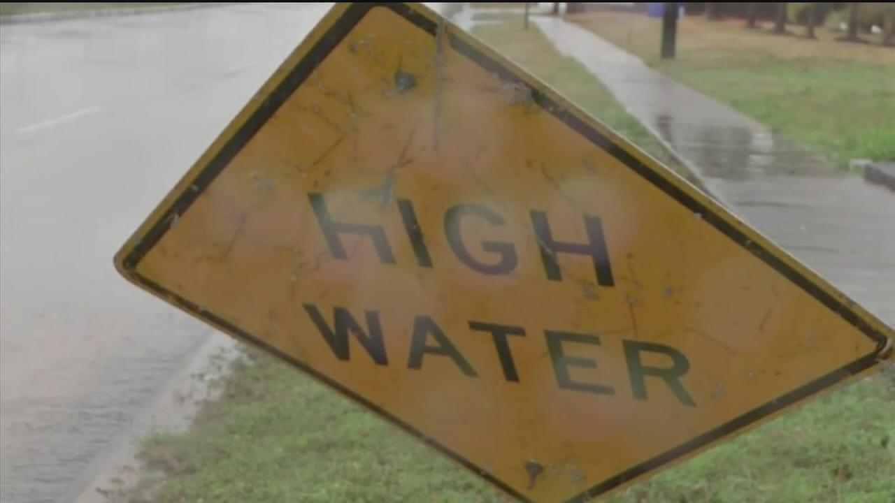 High water along roads in Pasadena