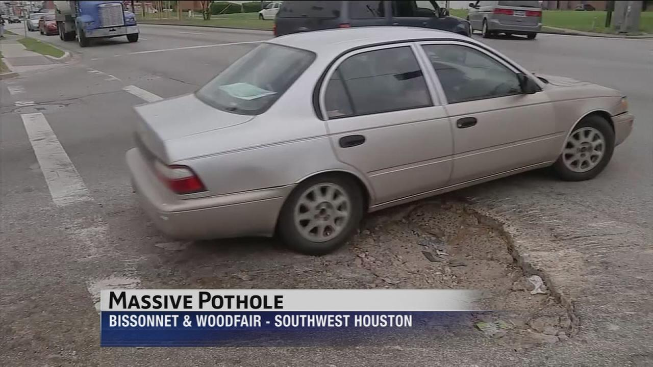 City fixes huge pothole in southwest Houston