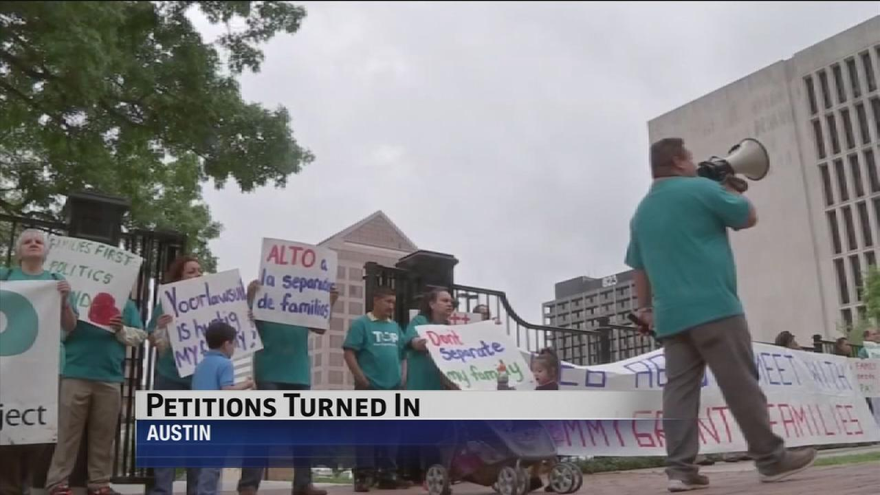 Immigration march held outside Texas Governors mansion