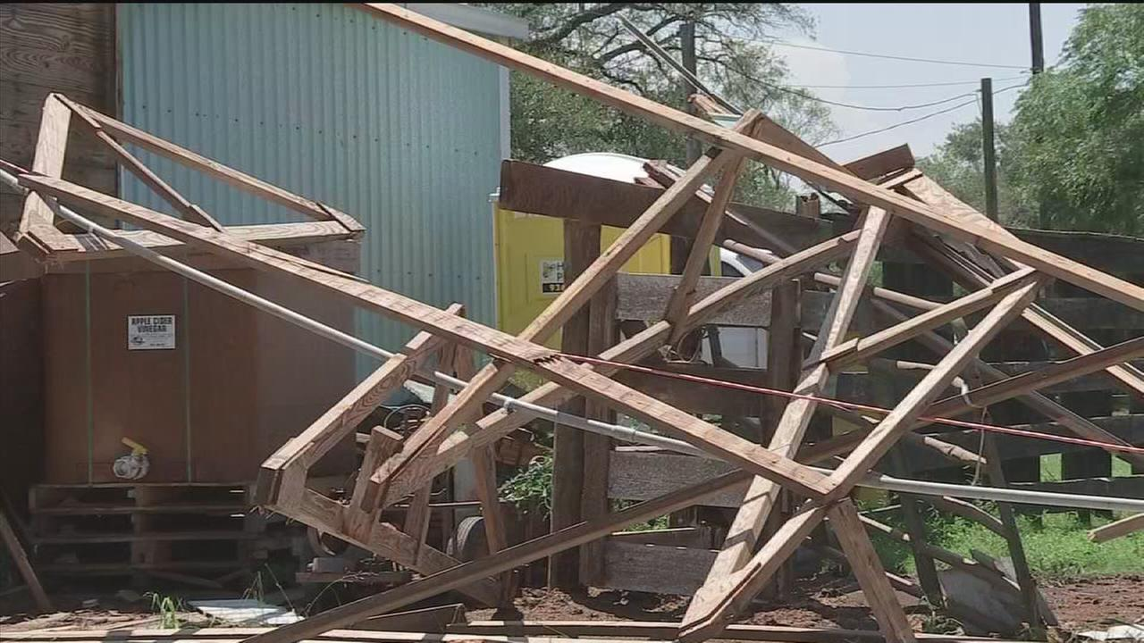 Severe storms litter area with damage
