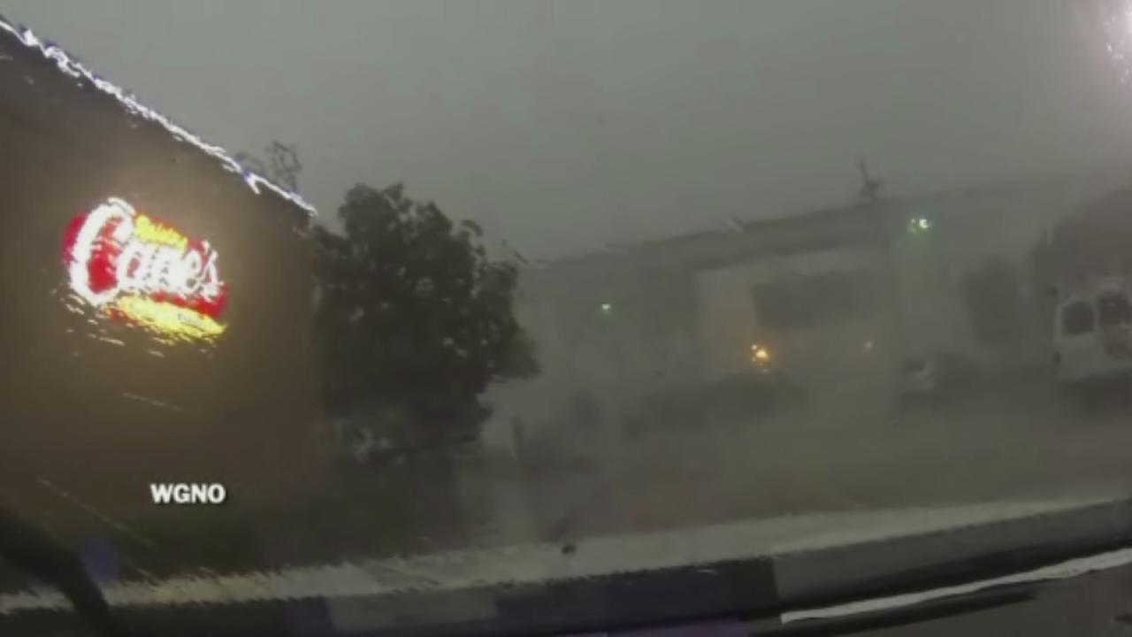 Wind blows train off tracks in New Orleans