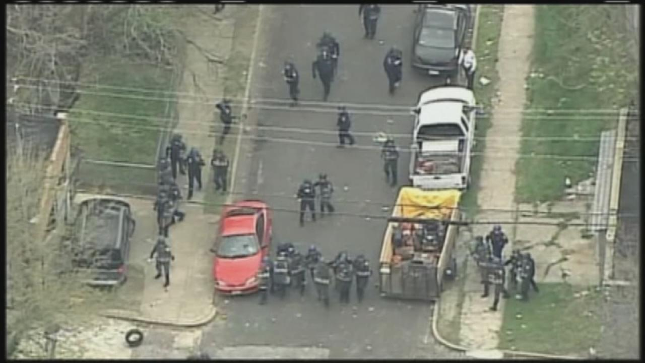 Rioting breaks out on streets of Baltimore