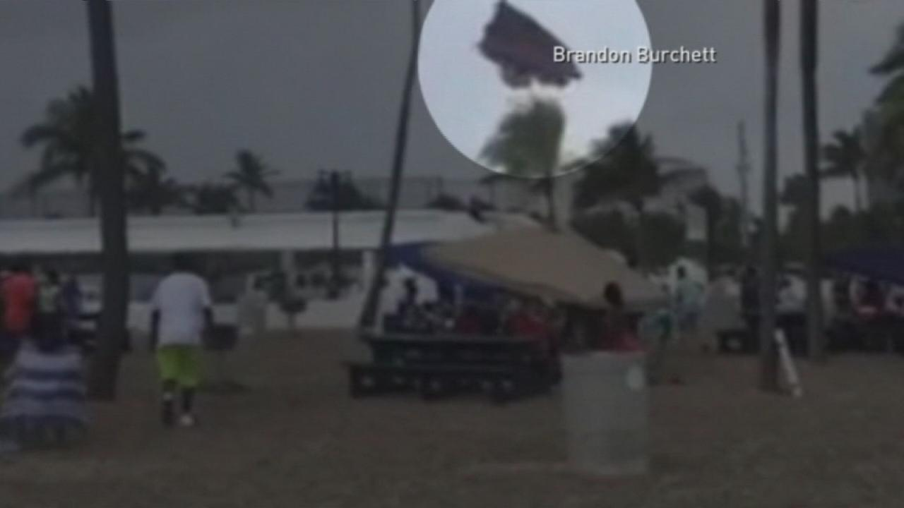 Kids in bounce house injured when waterspout comes ashore