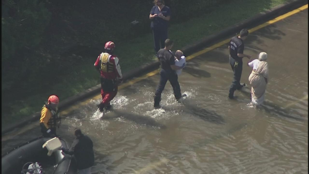 Couple rescued from flood water