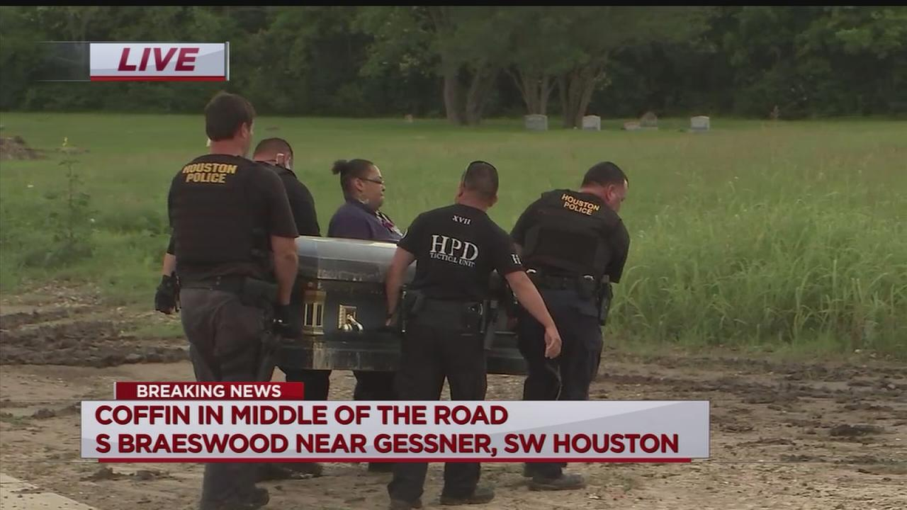 Man finds occupied casket on SW Houston road