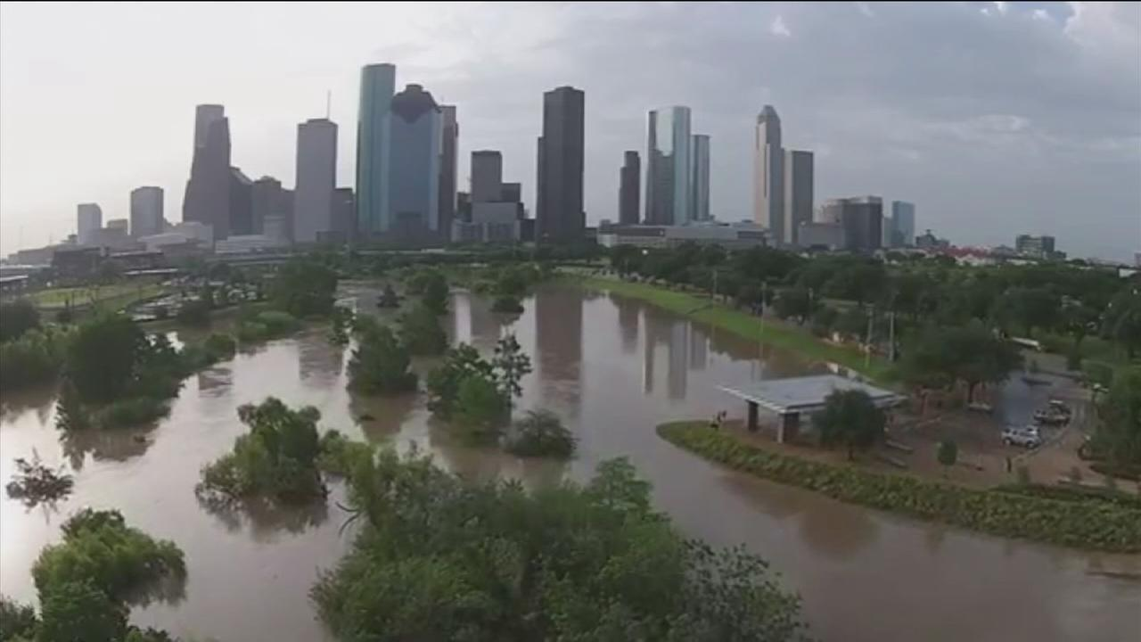 Drone captures flooding near downtown