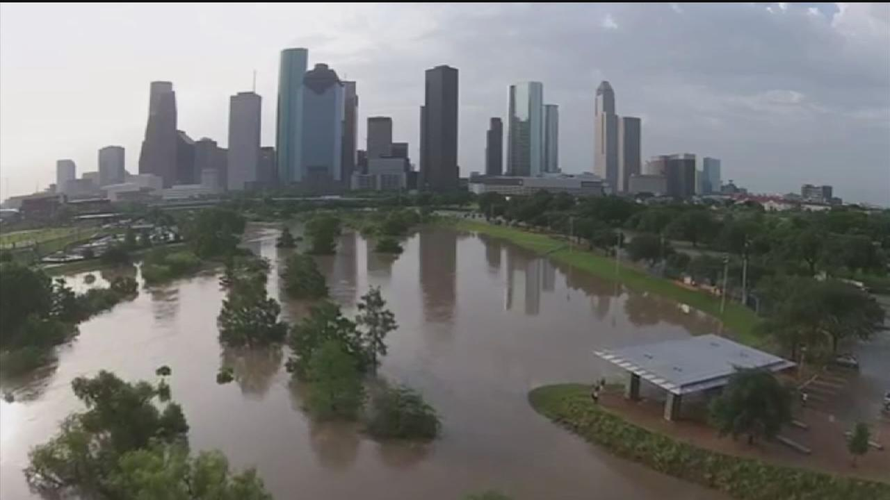 Drone video shows massive flooding in Houston