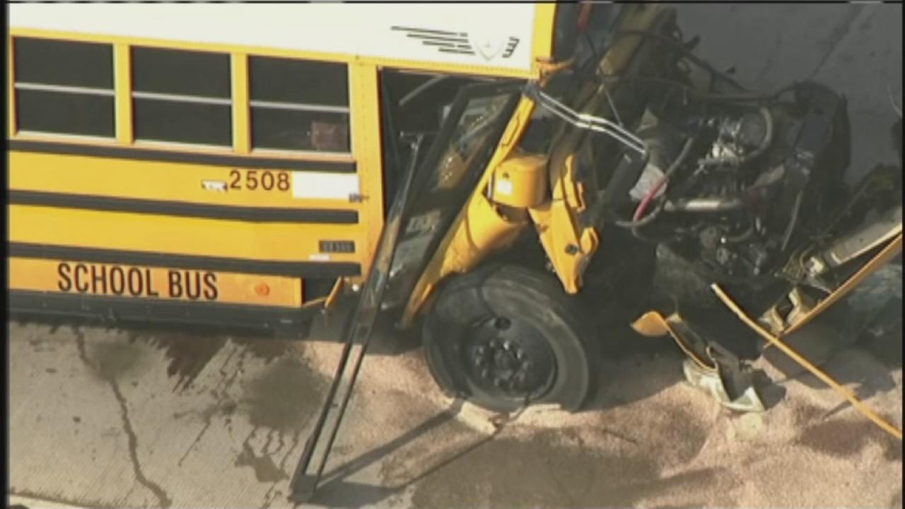 School bus involved in freeway crash