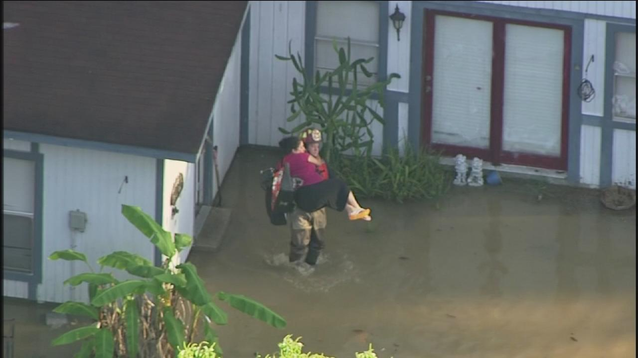 Family rescued from floodwaters