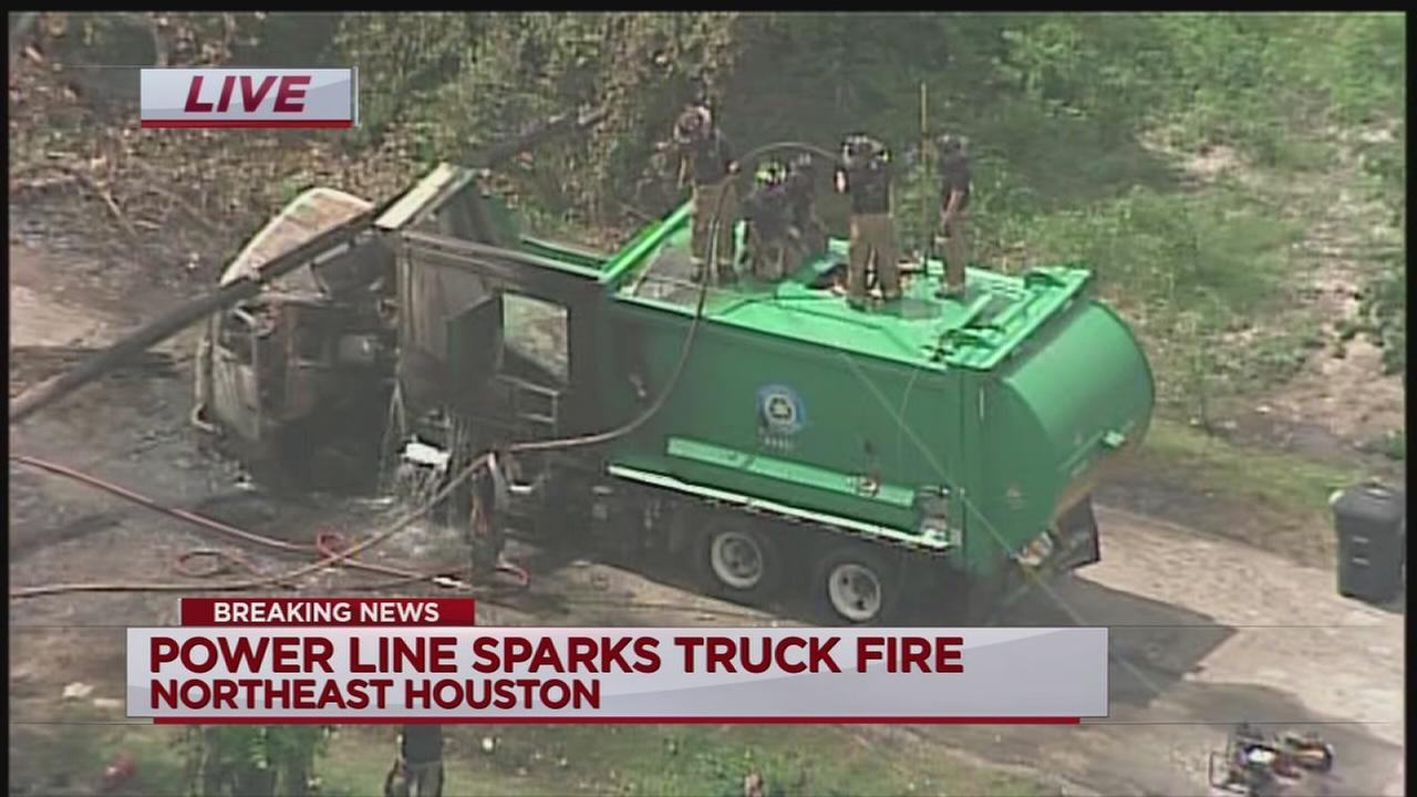 Power line starts truck fire